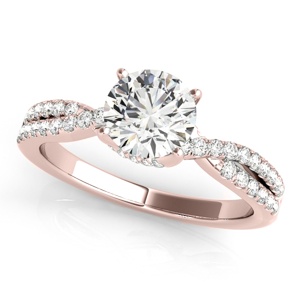 Round Diamond Engagement Ring & Band Bridal Set 14k Rose Gold 1.32ct