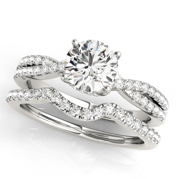 round diamond engagement ring band bridal set 14k white gold 132ct - Engagement Rings And Wedding Band Sets