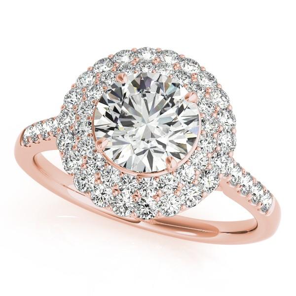 Diamond Double Halo Engagement Ring Prong Set 14k Rose Gold 3.00ct