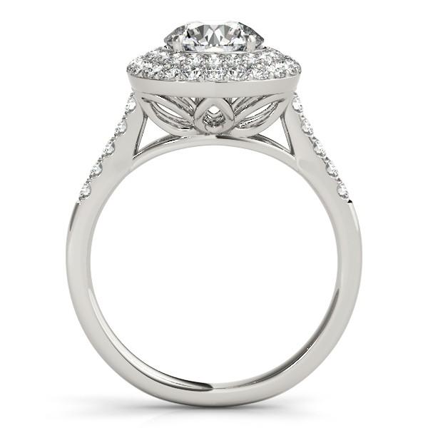 Diamond Double Halo Engagement Ring Prong Set 14k White Gold 3.00ct