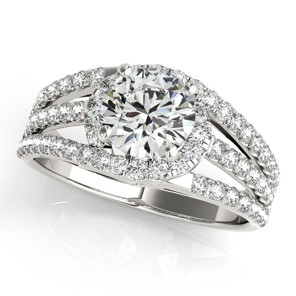 Wide Triple Band Diamond Engagement Ring 18k White Gold (2.13ct)