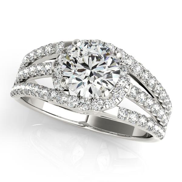 Wide Triple Band Diamond Engagement Ring Palladium (2.13ct)