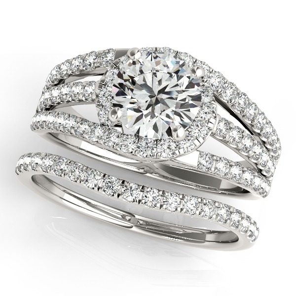 Triple Band Diamond Engagement Ring Bridal Set Palladium (2.33ct)
