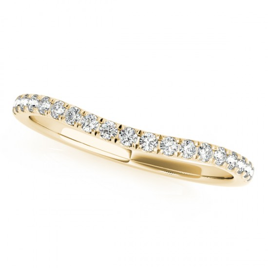 Diamond Curved Wedding Band in 14k Yellow Gold (0.20ct)