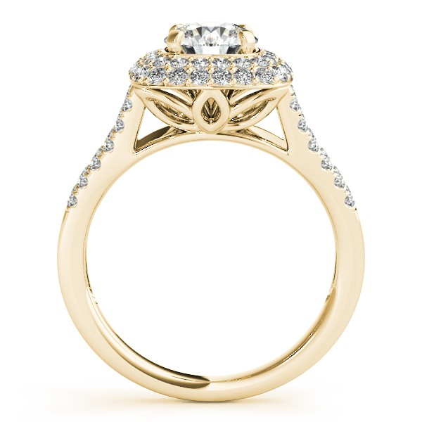 Split Shank Square Halo Diamond Bridal Set 14k Yellow Gold (2.17ct)