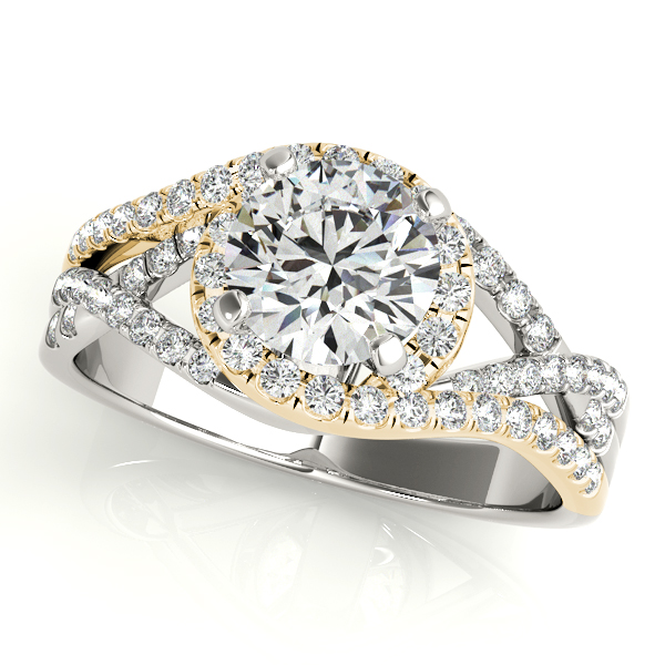 Twisted Three Row Halo Engagement Ring 14k Two Tone Yellow Gold 1.00ct