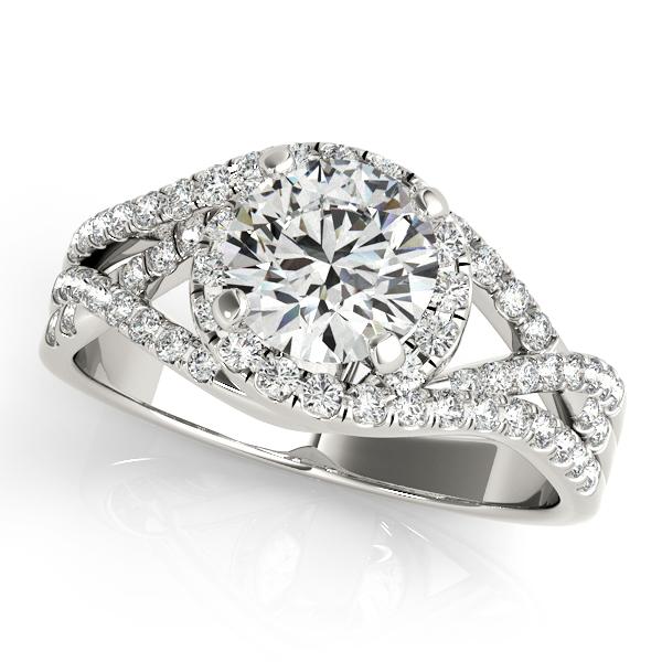 Twisted Three Row Halo Engagement Ring Platinum 1.00ct