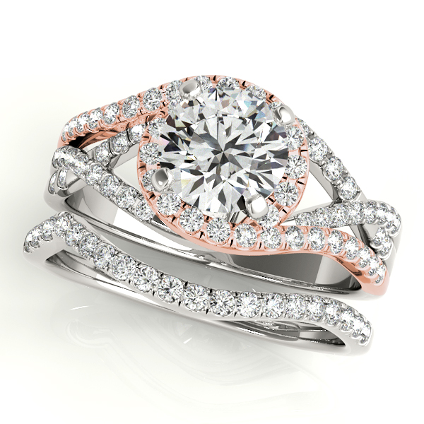 Twisted Halo Engagement Ring Bridal Set 14k Two Tone R. Gold (1.12ct)