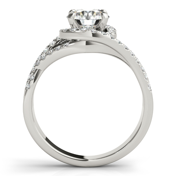 Twisted Halo Engagement Ring Bridal Set Platinum (1.12ct)