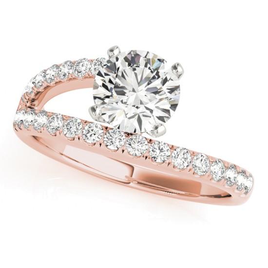 Bypass Diamond Engagement Ring 14k Rose Gold 0 33ct Allurez