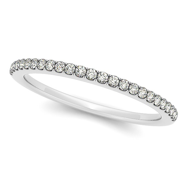 Diamond Accented Semi Eternity Wedding Band in 14k White Gold (0.10ct)