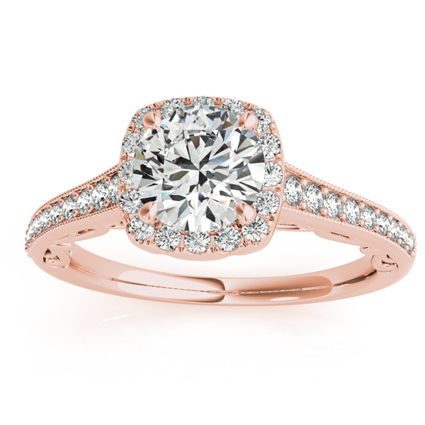 Diamond Square Halo Carved Engagement Ring 18k Rose Gold (0.35ct)