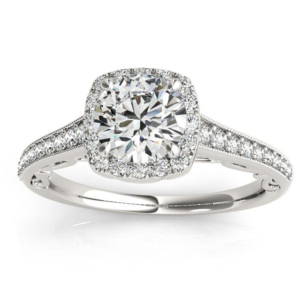 Diamond Square Halo Carved Engagement Ring Palladium (0.35ct)