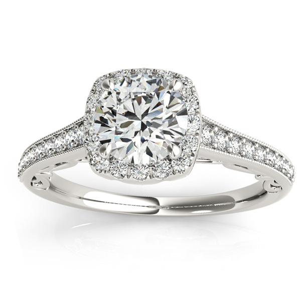 Diamond Square Halo Carved Engagement Ring Platinum (0.35ct)