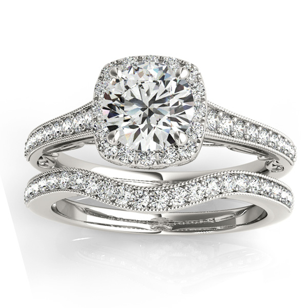 Diamond Antique Style Halo Bridal Set Platinum (0.52ct)