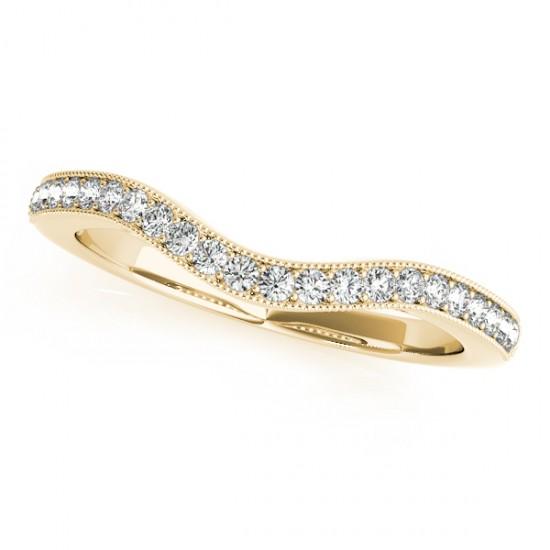 Diamond Curved Prong Wedding Band 14k White Gold (0.17ct)