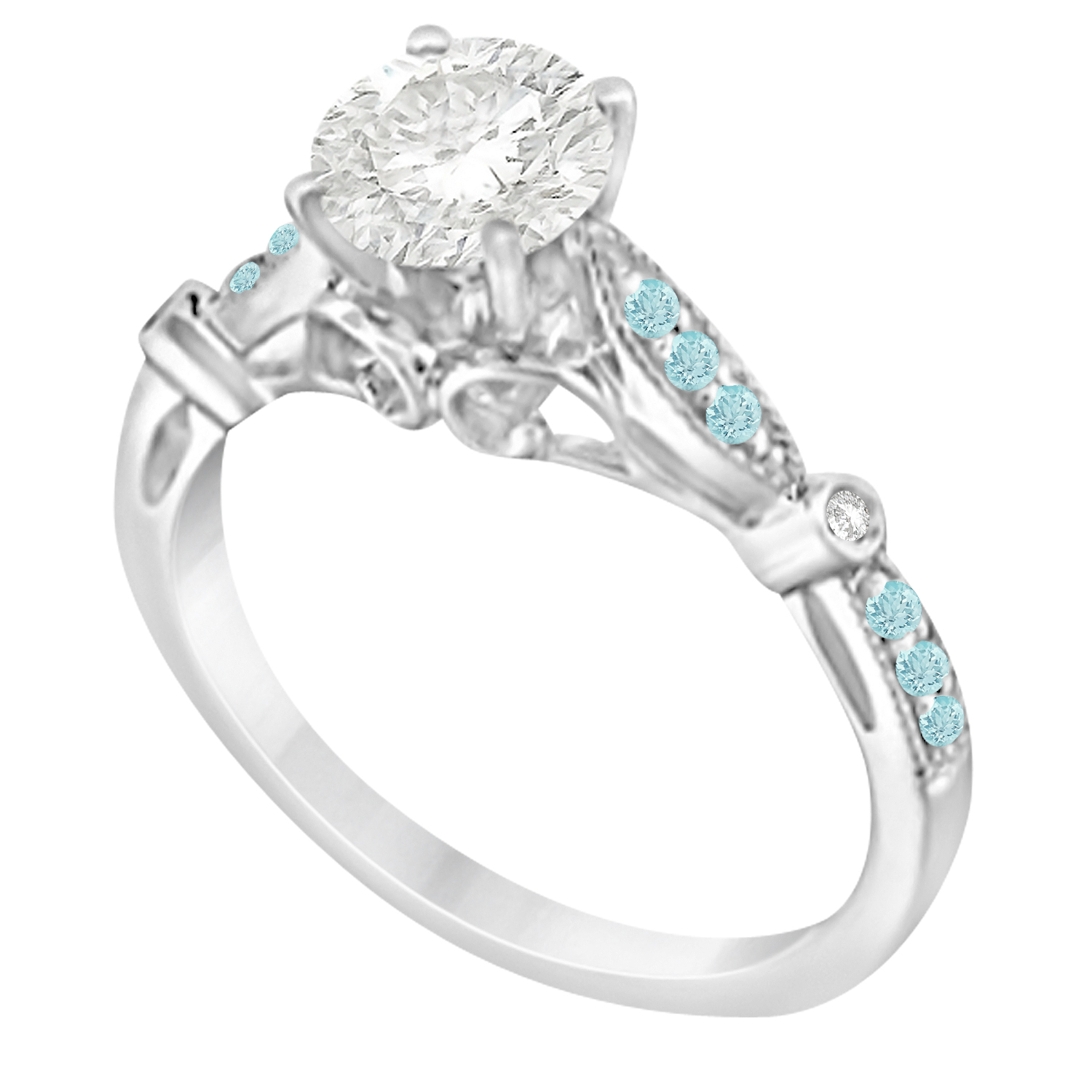 Marquise & Dot Aquamarine Vintage Engagement Ring 14k White Gold 0.13ct