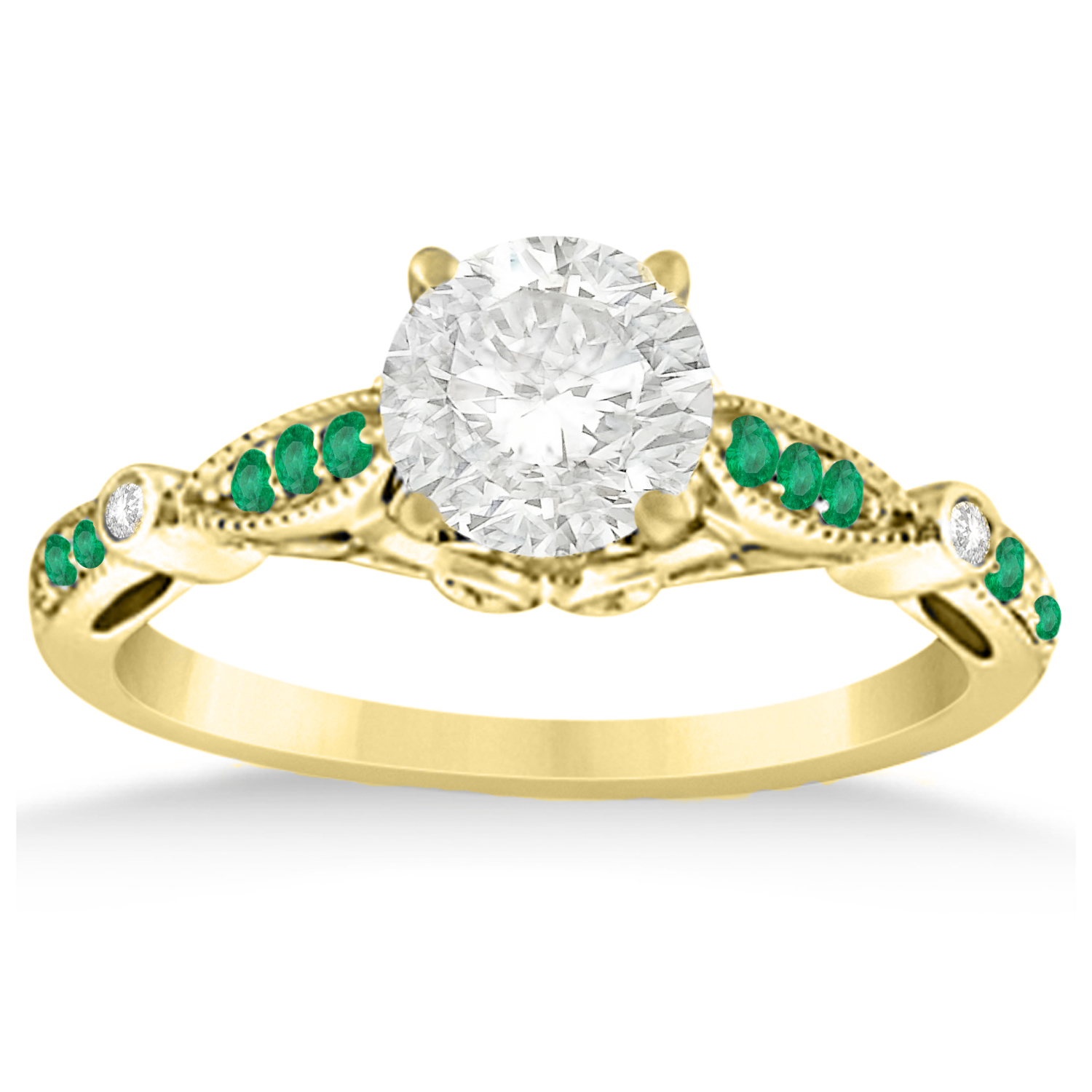 marquise dot emerald vintage engagement ring 14k yellow
