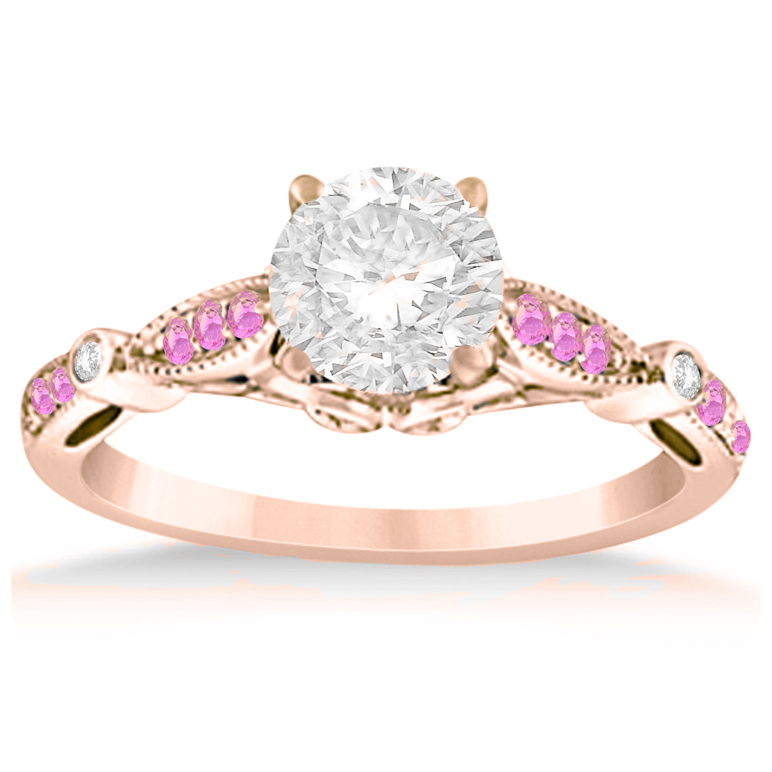 Marquise & Dot Pink Sapphire Vintage Engagement Ring 14k Rose Gold 0 13ct