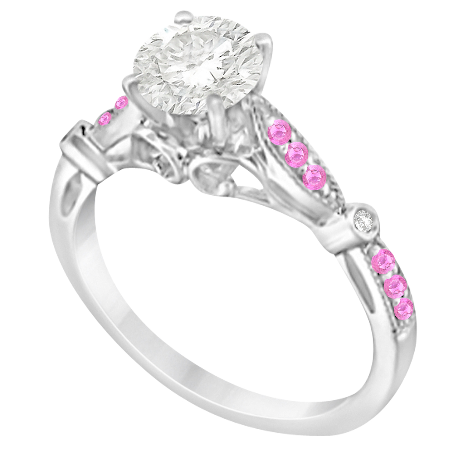 Marquise & Dot Pink Sapphire Vintage Engagement Ring 14k White Gold 0.13ct