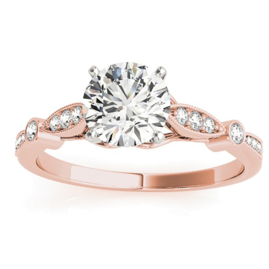 Marquise & Dot Diamond Vintage Engagement Ring 14k Rose Gold 0.13ct