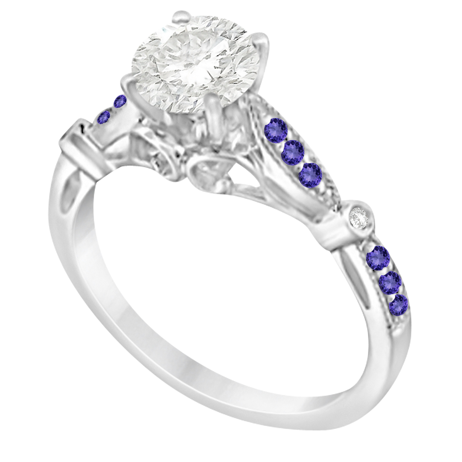 Marquise & Dot Tanzanite Vintage Engagement Ring 14k White Gold 0.13ct