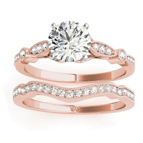 Marquise & Dot Diamond Vintage Bridal Set in 14k Rose Gold (0.29ct)