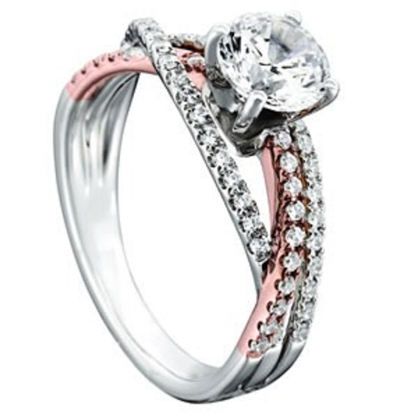 Three Row Twisted Diamond Engagement Ring Setting 14k Two Tone Gold