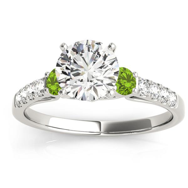 Diamond & Peridot Three Stone Engagement Ring 14k White Gold (0.43ct)