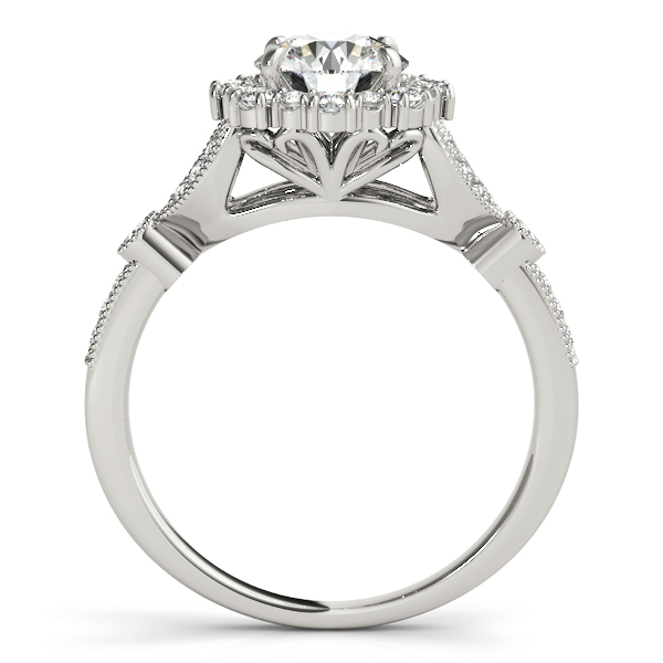 Diamond Accented Halo Flower Bridal Set in 14k White Gold (1.40ct)