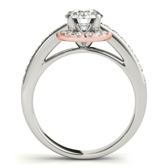 Diamond Halo Engagement Ring Setting Bridal Set 14k Rose Gold 0.63ct