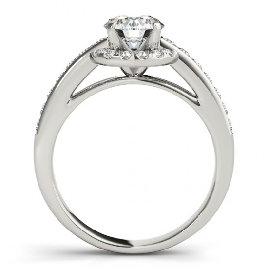 Diamond Halo Engagement Ring Setting Bridal Set 14k W. Gold 0.63ct