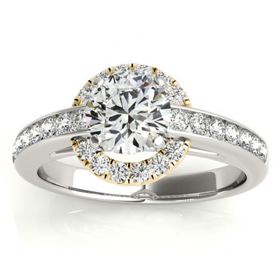 Diamond Halo Engagement Ring Setting Bridal Set 14k Y. Gold 0.63ct