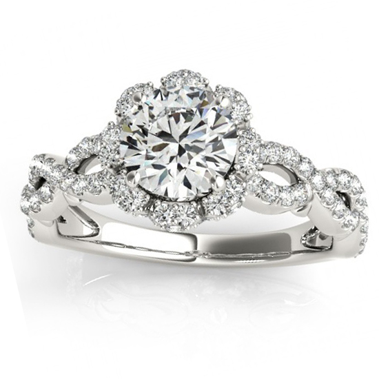 Twisted Halo Diamond Flower Engagement Ring Setting Palladium 0.63ct