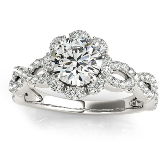 twisted halo diamond flower engagement ring setting 14k w gold 063ct - Flower Wedding Ring