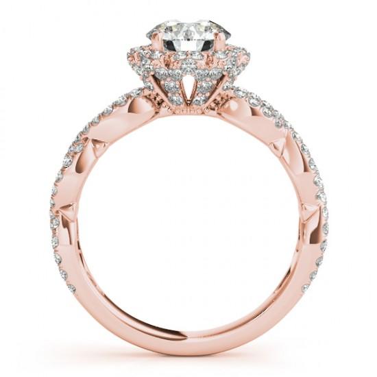 Halo Diamond Engagement & Wedding Rings Bridal Set 18k R. Gold 0.83ct