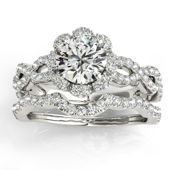 Halo Diamond Engagement & Wedding Rings Bridal Set Palladium 0.83ct