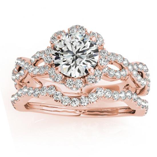 Halo Diamond Engagement & Wedding Rings Bridal Set 14k R. Gold 0.83ct