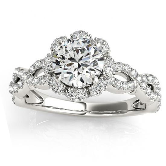 Halo Diamond Engagement U0026 Wedding Rings Bridal Set 14k W. Gold 0.83ct