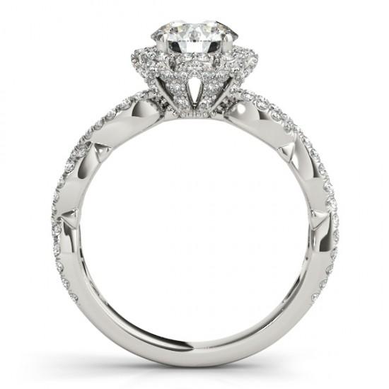 Halo Diamond Engagement & Wedding Rings Bridal Set 14k W. Gold 0.83ct