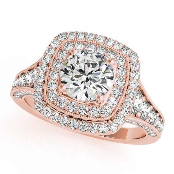 Square Double Halo Diamond Engagement Ring 14k Rose Gold 2.00ct