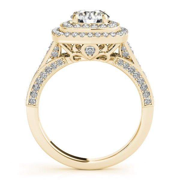 Square Double Halo Diamond Engagement Ring 14k Yellow Gold 2.00ct