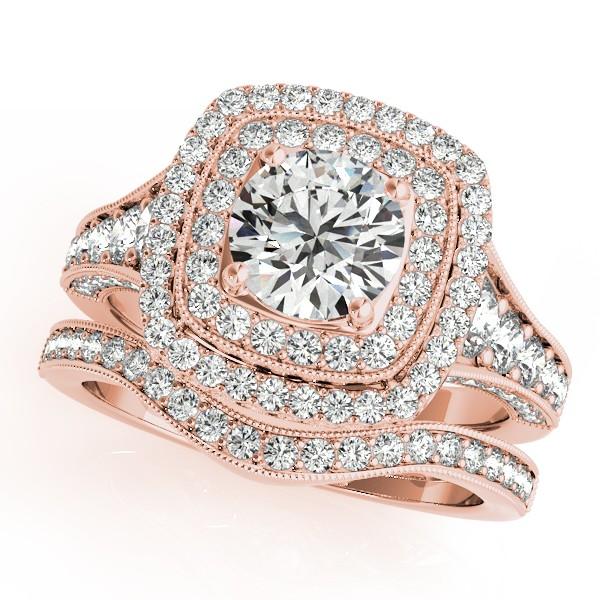 Square Double Halo Diamond Ring Band Bridal Set 14k Rose Gold 220ct