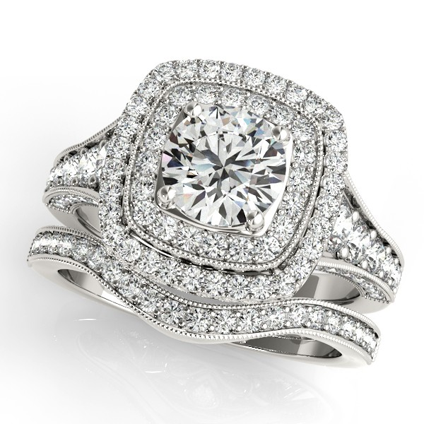 Square Double Halo Diamond Ring & Band Bridal Set 14k W. Gold 2.20ct