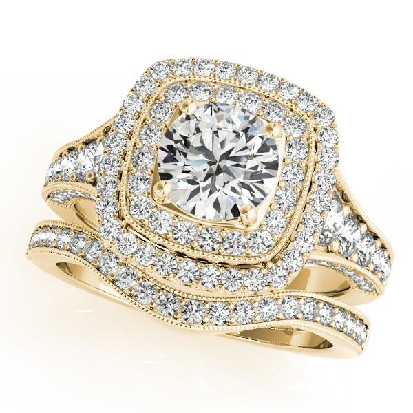 Square Double Halo Diamond Ring & Band Bridal Set 14k Y. Gold 2.20ct