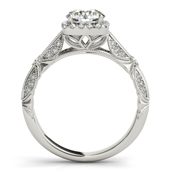 Diamond Square Halo Art Deco Engagement Ring 18k White Gold 1 31ct