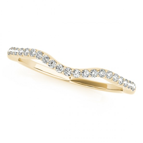 Contoured Curved Diamond Wedding Band 14k Yellow Gold (0.14ct)