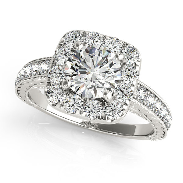 Square Halo Diamond Engagement Ring Vintage Style 14k W