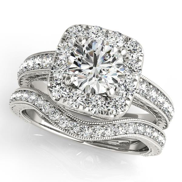 Square Diamond Halo Engagement Ring & Wedding Band 14k W. Gold 1.67ct