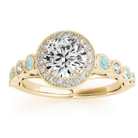 Aquamarine & Diamond Halo Engagement Ring 14K Yellow Gold (0.36ct)